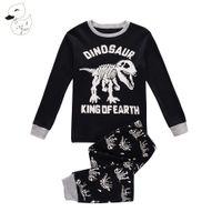 BINIDUCKLING Sonbahar Bebek Boys Pijama Pijama Setleri% 100% Pamuk Dinozor Baskılı t-shirt + pantolon 2 adet Bebes Çocuk giyim