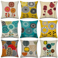 Cotton Linen abstract Square Cushion Covers Printed Sofa Thr...