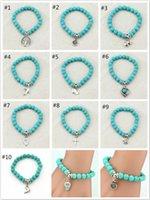 Boho старинные бирюзовые браслеты для женщин мужчины крест дерево рыба рука кулон Шарм браслеты браслеты браслеты ювелирные изделия