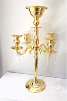 "30"" Tall Gold Arm Shiny Metal Candelabra Chandelier wit..."