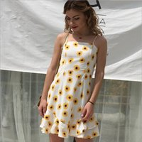 New Fashion Women Short Sleeveless Dress Vintage Flower Prin...