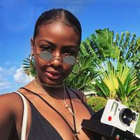 Óculos De Sol Das Mulheres Do Vintage Pequeno Rodada Óculos De Sol Retro Senhoras Sunglass Lentes de Cor Amarela Preta Eyewear Marca Designer