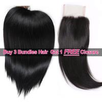 IsHow cabelo grande promoção de vendas comprar 3 pacotes 8-28inch brailizan peruano extensões de cabelo reto malaio ganhe 1 fecho de renda livre para mulheres meninas cor natural