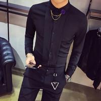 Высокое качество смокинг рубашка мужчины Slim Fit с длинным рукавом твердые социальная партия Dress рубашки ночной клуб повседневная блузки Homme горячие продажа 2XL D18102301