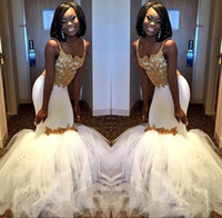 Elegant African Mermaid Prom Party Dresses 2018 White and Go...