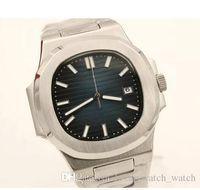 최고 판매 럭셔리 시계 새로운 도착 5711 자동 무브먼트 블랙 고품질 사파이어 유리 스테인레스 스틸 스트랩 케이스 유리 백