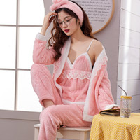 JULY'S SONG Frauen Pyjama Sets 4 Peices Flanell Rosa Dicke Warme Frauen Herbst Winter Pyjamas Nachtwäsche Sling Lace Sexy Homewear