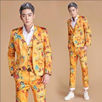 M- 3XL New Men print suits golden yellow chinese dragon slim ...