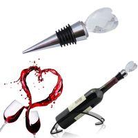Toptan kalp şeklinde kristal kırmızı şarap şişesi tıpa Düğün Parti Gelin Duş Iyilik için düğün favor dönüş hediyeler