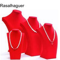 Горячий продавая большого красного бархат манекена ожерелья ювелирных изделий стенда портрет шея полку ювелирного стенд реквизит