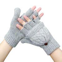 Mulheres Grosso Luvas Sem Dedos Masculinos Inverno Quente Expostos Dedo Luvas De Malha Quente Flip Metade Dedo Luvas Nova Chegada