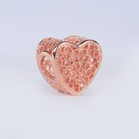 5 pcs lot Rose gold heart charms Openwork fits for pandora s...