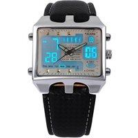 7b06cc97866 Nova marca OHSEN Retângulo Dial Digital Dual Time LCD Mens Data Alarme  Cronômetro Quartzo Analógico Relógio De Pulso De Couro Do Esporte   OHS034