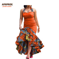 Roupas étnicas 2021 Vestido de primavera para mulheres Africano Impressão Afriprida Sem Mangas Ankle-Comprimento 3 Camadas Halter A7225131
