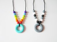 Autism Sensory Silicone Teething Necklace Teether Ring Donut...