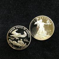 10 PZ Non Magneitc Statue Freedom 2018 Badge 24K Real placcato oro Liberty Souvenir monete 32,6 mm Coin Coin