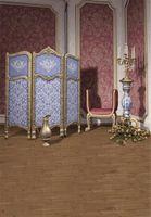 Interior de la habitación Damasco púrpura Pared Fotografía Telones Fondo Silla impresa Flores Velas Pantalla azul Princesa Chica Foto Estudio Fondos