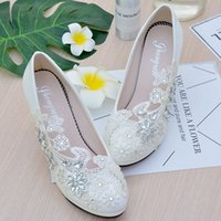 White Flower Lace Crystals Bridal Shoes Round Toe Slip On We...