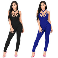 Casual New Style 2018 Solid Color Romper Playsuit V- Neck Sle...