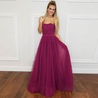 Borgogna rosso lungo abiti da ballo con paillettes morbido tulle A-Line Backless abiti da sera formale vestito da partito abiti da sposa