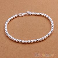 Bracelet fantaisie pour femme, plaqué argent, bracelet à billes 4mm 06IX
