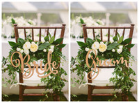 Signos de la silla de la novia y el novio, rústica muestra de la silla de madera de la boda, signos de madera, apoyos de la foto, decoración de la boda, 2pcs / Lot