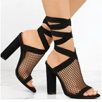 588f28c593e7 Women Summer Boots Pumps Peep Toe Mesh Cut Out Gladiator Ankle Strap  Sandals High Heel Crystal Clear Thick Heels Size 34-43