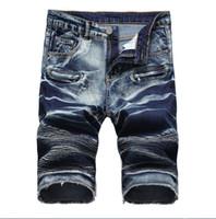 Venda quente dos homens de Algodão Ocasional dos homens calções de brim dos desenhadores designer retro dos homens buraco Na Altura Do Joelho denim Shorts jeans tamanho grande calças tamanho 28-42