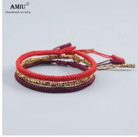 AMIU 3 PZ Multi Colore Buddista Tibetano Buona Fortuna Fascino Bracciali Tibetani Braccialetti Per Le Donne Uomini Fatti A Mano Nodi Braccialetto di Corda