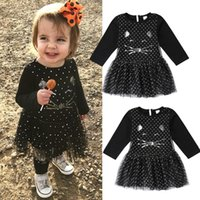 Halloween Kids Girls Dresses Baby Black Cat Dot Princess Tul...