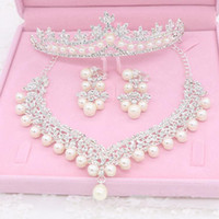 Bling Latest 2018 Bride Jewelry Thress Sets Necklace Crown A...