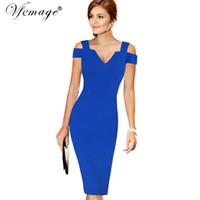 Vfemage Womens Elegant Sexy Off Shoulder Cut Out Deep V Summer Fashion Slim Casual  Party Club Evening Bodycon Pencil Dress 6668 Y1890812 8c6984c86