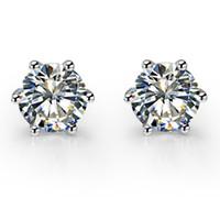 Bonito 1CT / Pieza Pendientes de plata de ley 925 stud redondo SONA Diamantes Sintéticos Pendientes de Boda Stud Joyería de Color Oro Blanco