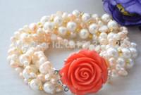 Bracelet en perle rose baroque rose shell blanc