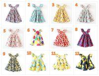 INS вишня лимон хлопок спинки платье девушки цветочный пляж платье милый ребенок лето спинки холтер платье дети старинные цветы 12 цветов BY0106