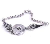 Angel Wings Bracciali Bangles argento antico fai da te Ginger scatta gioielli pulsante 2017 nuovi braccialetti di stile per le donne