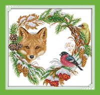 A raposa e a guirlanda lona dmc 11ct 14ct contados diy kits de ponto cruz chinês impresso ponto-cruz definir bordados needlework