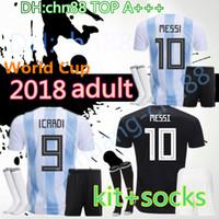 2018 كأس العالم الأرجنتين الصفحة الرئيسية 10 ميسي dybala دي ماريا الكبار كيت + الجوارب لكرة القدم الفانيلة 17 18 الأرجنتيني lavezzi aguero higuain كرة القدم