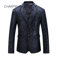 Mens navy blue suit High quality jacquard fabric pattern emb...
