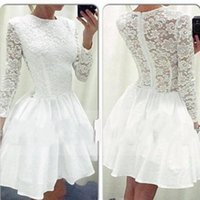 New white lace Homecoming Dresses Long Sleeve with Attractiv...