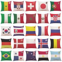 Coppa del mondo di calcio Copertura del Cuscino Nazione Bandiera Divano Piazza Cuscino Caso Cuscino Tiro Cuscino Fans Regalo Home Decor 32 Stili YFA 237