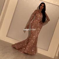 Yousef_aljasmi 2019 Jewel Boyun Abiye Uzun Kollu Shining Gül Altın Sequins Mermaid Örgün Durum Gelinlik Modelleri Custom Made