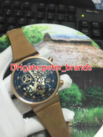 AAA Fashion men' s watch rose gold case brown leather st...
