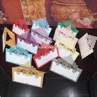 50pcs lot laser cut Elegant Lace Crown Wedding invitation Ta...