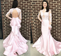 Long Sleeves Pink Mermaid Prom Dresses Sheer Neck Illusion B...