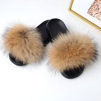 New Women's Plush Slippers Fluffy Fur Rabbit hair Slides Fla...
