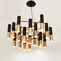 Delightfull Ike Metal Tube Led Chandelier Lampa Ljus Modern Svart Guld Suspension Hängande För Living Dinning Room