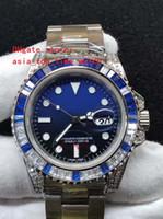 آخر إصدار 116610 آسيا 2813 حركة أسود / أزرق الاتصال الهاتفي 40MM الكريستال الماس الحافة الحافة مجموعة اوجير جودة عالية أوتوماتيك ساعة الرجال
