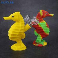 SILICLAB Neuer patentierter Seahorse Bubbler mit Glasschüssel und Silikon Downstem Beste Dab Rig für trockene Kräuter Rauchen VS Glaspfeifen Wasserpfeife