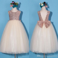 Rose Gold Sequined Top Floor Length Flower Girl Dresses Long...